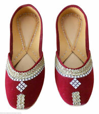 Women Shoes Indian Handmade Traditional Leather Ballerinas Maroon Jutties US 4