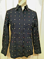 Blouse JONES NEW YORK SIGNATURE Womens Shirt Size S Long Sleeve Blue With Dots