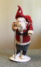 Vintage Papier Mache Santa Figure With Sack Composite