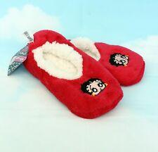 Betty Boop New Red Soft Fleece Lined Lounge Wear Non-Slip Sock Slippers Size 3-5