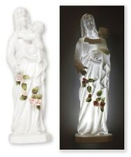 Porcelain Madonna & Child Mary statue ornament roses and LED light Catholic gift
