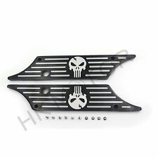 Pair Black Edge Contrast CNC Cut Saddlebag Latch Cover For Harley Touring 93-13
