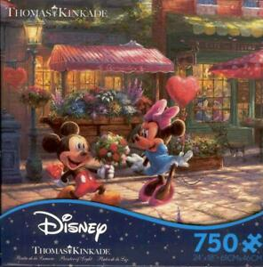 Thomas Kinkade Disney Ceaco Jigsaw Puzzle Mickey and Minnie Sweetheart Cafe NIB