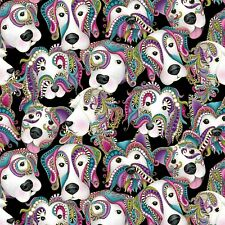 Fabric Dogs White Mardi Gras Floral Metallic Black Bernatex Cotton 1/4 Yard 6253
