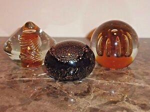 SET OF 3 STUNNING LARGE ART GLASS PAPERWEIGHTS