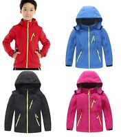 Kids Boys Girls Outdoor Fleece Jacket Waterproof Soft Shell Climbing Hooded Coat