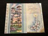 #1965c🌟Vintage 30s GREETINGS FROM...FLORIDA Christmas Holiday Greeting Card