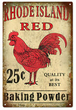 Rhode Island Red Baking Powder Rooster Country Sign