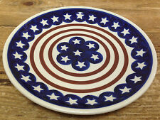 Boleslawiec Poland Americana White Stars Red Blue Stripes 1 Salad Dessert Plate