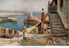 PENZANCE AND NEWLYN HARBOUR CORNWALL VINTAGE HASLEHUST PRINT c1930 16.5cm X 11cm