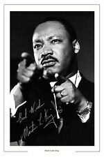 MARTIN LUTHER KING AUTOGRAPH SIGNED PHOTO PRINT REVEREND