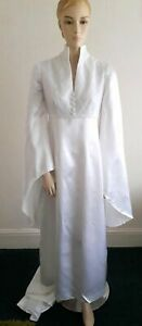 VINTAGE 60S ETHEREAL WHITE SATIN WIDE SLEEVE GOTHIC MEDIEVAL WEDDING DRESS 8