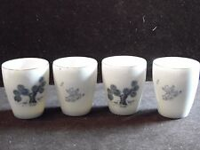 4 Vintage Blue & White Pottery Asian Boy Trees Tumblers Cups Made In Japan
