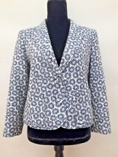 Immaculate Womens Jaeger Boutique Designer Blue White Floral Daisy Jacket 12/14