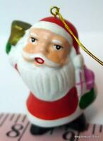 "Santa Claus with little Christmas Bell hanging Ornament 2"" tall"