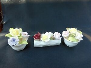 Gorgeous Trio COALPORT Floral Bone China Small Flower Bouquet Made in England