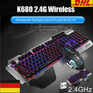Wireless Gaming Tastatur Keyboard Maus Set Gamer RGB LED für PC Laptop PS4 Pro