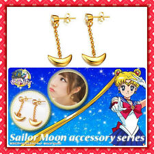 ★ SAILOR MOON ORECCHINI LUNA cosplay argento 825 placcato oro Usagi earrings