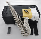 Top silver nickel Bb Curved Soprano sax Saxophone high F with black case