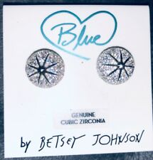 BETSEY JOHNSON GENUINE CUBIC ZIRCONIA STUD STAR BALL EARRINGS BRAND NEW