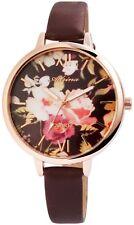 Damenuhr Schwarz Braun Rosègold Blumen Analog Leder Armbanduhr X-1900139-001