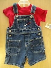 Boy's Size 12-18 Months Vintage Tommy Hilfiger Denim Shortalls w/ New Shirt