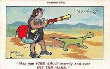 POSTCARD COMIC - PREHISTORIC - SHOOTING   - LAWSON WOOD