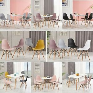 Set of 2 4 6 8 Dining Chair Plastic Seat Retro Wooden Legs Lounge Kitchen Room