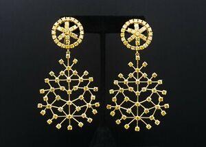 "Luxe 18k Yellow Gold GIA 19ct Natural Yellow Diamond Dangle Earrings 3.3"" EG1662"