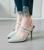 HOT Ladies Polka Dots Spots Slingback Pumps High Heels Pointed Toe Party Shoes