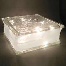 """Glass Block 8""""x 8""""x 3"""" IceScapes Pattern 3"""" White Border -Clear Christmas Lights"""