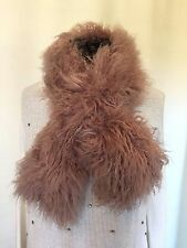 "NEW 42"" x 5"" Pull-Through Faux Fur Scarf Tibetan Curly Lamb Rosy Brown"
