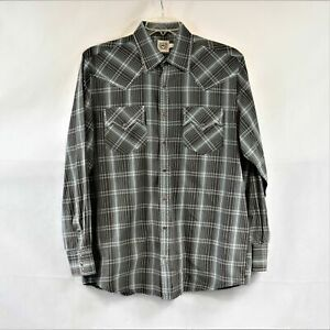 Cinch Mens L Charcoal And Turquoise Plaid Western Snap Up Shirt Preowned