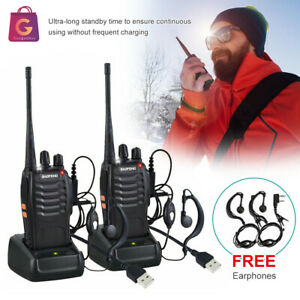 2X Walkie Talkie BF-888S Handheld Two-Way Radio 2W UHF 400-470MHz Rechargeable