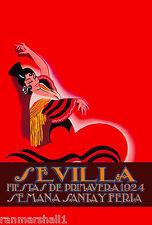 1924 Feria de Sevilla Fair of Seville Spain Vintage Travel Advertisement Poster