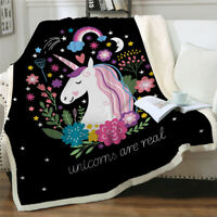 Sherpa Unicorn Lap Blanket Rug for Couch Sofa Bed Soft Throw Tapestry Hot Sale