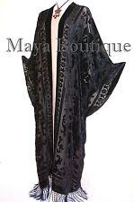 Maya Matazaro Opera Caftan Kimono Duster Burnout Velvet Black Extra Long