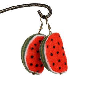 Sweet watermelon earrings, red fruit jewelry in kawaii style, felted watermelons