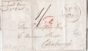 G.B -Scotland  1802 E.L from Kirkwall Orkney Island to Ediburgh Paid 1/-