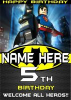 Birthday Banner Poster   BATMAN SUPERMAN LEGO   Superhero   Personalised   TP134