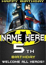 Birthday Banner Poster | BATMAN SUPERMAN LEGO | Superhero | Personalised | TP134