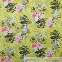 BonEful Fabric FQ Flannel Cotton Disney Tinkerbell Peter Pan Forest Flower Fairy
