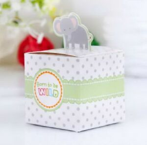 Baby Shower Favour Boxes Box Boy Girl New Born To Be Wild Elephant Giraffe Tiger