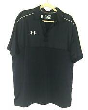 Under Armour Mens Heat Gear Poly Elastane S/S Black Golf Athletic Polo Shirt Xl