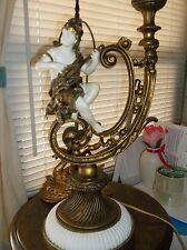 Italian Iron Metal Cherub Table Lamp c1940s florentine