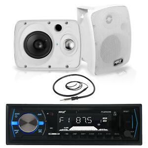 "6.5"" 800W Pyle Marine Box Speakers,Pyle Bluetooth USB Boat Radio, Marine Antenna"