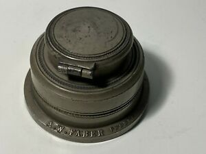 Vintage French A.W. Faber Pewter Inkwell