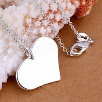 Silver Plated Fashion Metal Charm Heart Tag Pendant Chain Necklace Jewelry