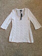 White House Black Market White Crochet Knit Embellished 3/4 Sleeve Tunic L