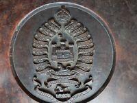 INDIAN ART Indian CRAFTSMAN hardwood PLAQUE TABLE ?, carved crest  Inniskillings